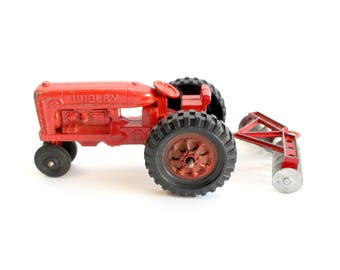 Vintage Toy Tractor, Red Tractor Toy