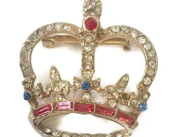 Rhinestone Encrusted Crown Brooch, Jewelry