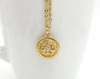 Libra Necklace, Libra Zodiac Necklace, Brass Astrological Charm w Gold Plated Chain, Libra Pendant, Horoscope Zodiac Jewelry, Vintage Style