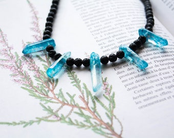 Deep Water - Aqua Necklace get and pearls of lava