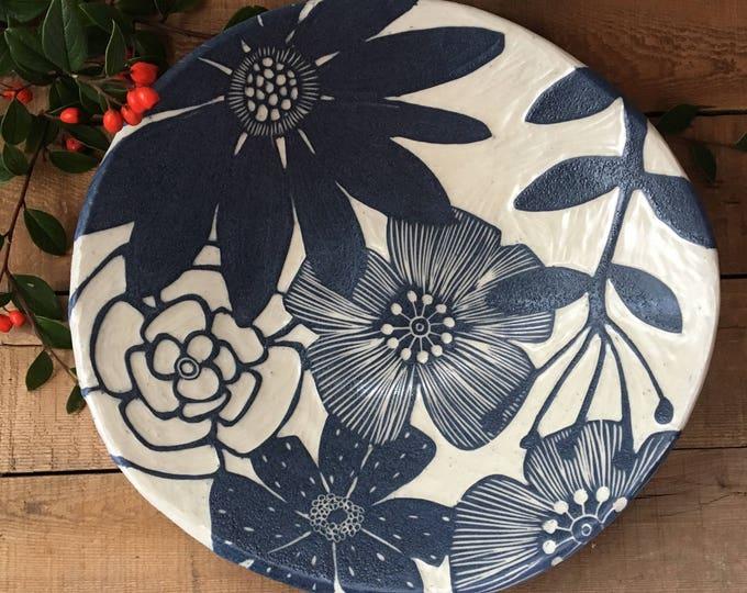 large floral serving bowl