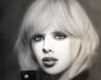 Portrait in black and white fully painted airbrushed - Charlize.