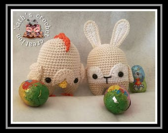 Buddy and Chuck, rabbit and hen Easter pattern by Lalylala