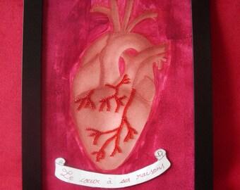 """Cœur anatomique """"le coeur a ses raisons"""" rouge sanguine et technique mixte, tableau Gwenda'ailes"""
