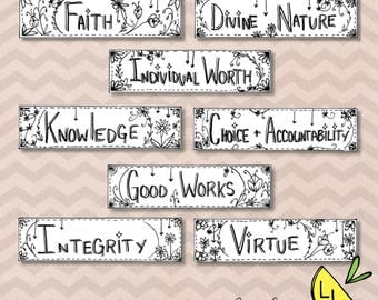 LDS Bookmarks, Young Women Values, Cute Bookmarks, Black and White, Printable Art, LDS Printables, lds bookmarks, lds handouts, LDS prints