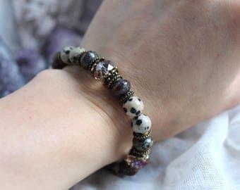 Protection Bracelet, Reiki Bracelet, Meditation Bracelet, Chakra Bracelet, Healing Bracelet, Grounding Bracelet, Dalmation Jasper Bracelet