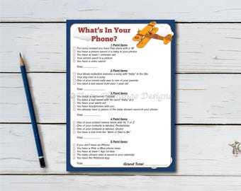 Whats In Your Phone, Baby Shower Game, Shower Game Card, Blue, Airplane, Plane, Aviation, Vintage, PDF, Printable, Instant Download T674A