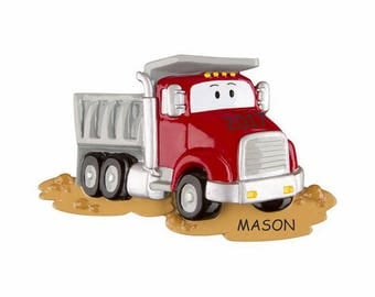 Personalized Dump Truck Kids Christmas Ornament