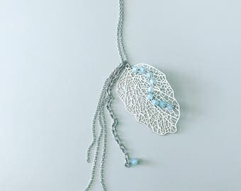 silver and teal leaf necklace