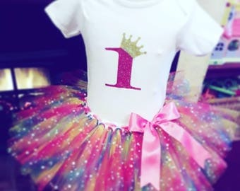 Rainbow sparkle 1st birthday tutu/cake smash outfit