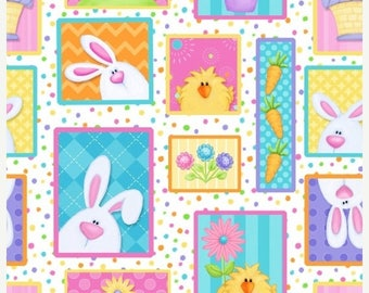 SALE Easter Bunnies on White Fabric / Hippity Hop by Shelly Comiskey for Henry Glass 6679 21 /  Yardage / Easter Fabric by the yard / Fat Qu