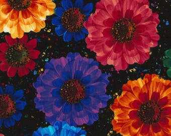 Allover Flowers Radiance Floral Cotton Fabric / Floral Fabric Yardage / Timeless Treasures C5131 -Black  / by the yard and Fat Quarters