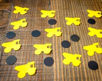 Yellow and Black Construction Party Confetti