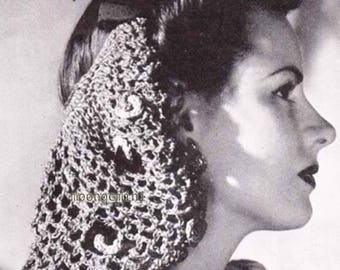 Bow Snood Hat Hairnet Hair Net Vintage Crochet Pattern PDF