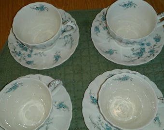 """Set of (4) Vintage Myott Staffordshire """"Forget me not""""  teacup and saucer Made in England M970"""