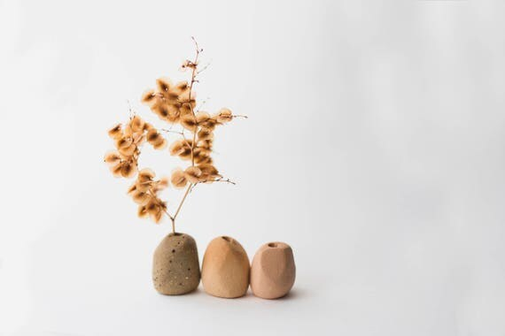 Three Tiny Bud Vases in Earthenware