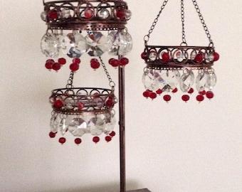 Bohemian 3 tier chandelier votive stand