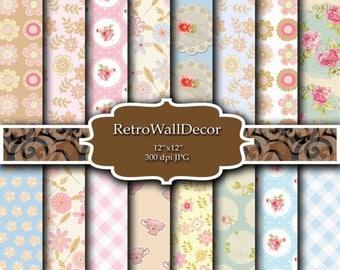 30%OFF Floral Digital Paper Pack , Vintage Floral Backgrounds , Vintage Roses Decoupage Digital , Flowers Paper Pack 12x12 Buy 2 Get 1 FREE