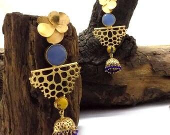 Designer earring,filigree earring,jhumka earring,blue beaded earring,monalisa earring,gold plated earring