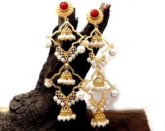 New Designer earring,Multi Stone earring,long Charm Earring,Gold plated party wear gift earring,jhumka earring,Chandelier Earring