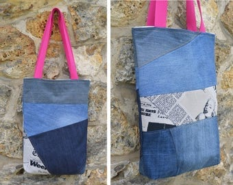 Tote bag purse Jeans denim,quilting linen coton, news paper, Marilyn Monroe - recycled