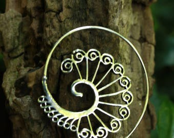 NEW Spiral Tribal Indian Silver Plated Earring Ø 3,0 cm