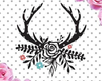 Floral Antlers Svg, boho svg, antlers, flowers svg, SVG, DXF, Cricut Designs, Silhouette Studio, Digital Cut Files, arrows svg,