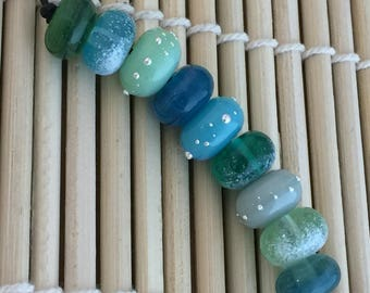 Blue Silk Scarff 9 Lampwork Beads  SRA