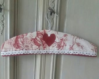 hanger in French toile de jouy and Burgundy linen cover