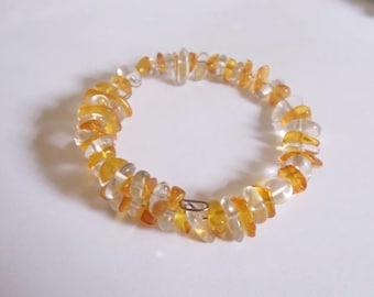 Rock crystal and amber bracelet