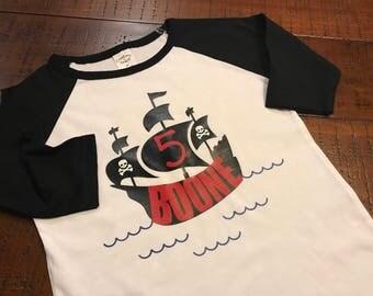 PPERSONALIZED PIRATE SHIRT - Pirate Birthday Shirt - Birthday Shirt with Name and Age - First Birthday Pirate Shirt - Baseball Tee - Raglan