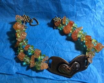 Heart Gemstone Chip Bracelet