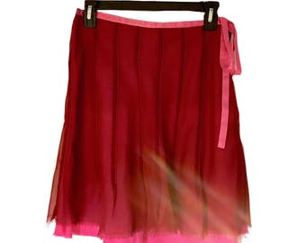 Vintage Women's Romantic Lux Red / Pink Sheer Pleated Skirt with Side Ribbon & Frayed Double Hem - Size: 5