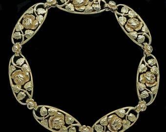 Antique Art Nouveau Bracelet 18k Gold Roses Foliage French (#6320)