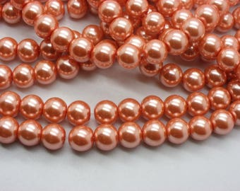 50 glass beads 8 mm mother of Pearl orange