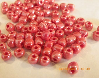 200 large seed beads 4 mm orange