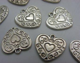 3 hearts cut 19 mm metal silver veuillit heart connectors