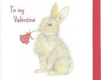 Bunny Valentine Card. Funny Valentine Card. Bunny Funny Card. Rabbit  Valentine Card.