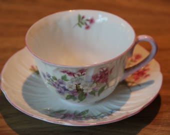 Shelley Oleander cup and saucer in Stocks pattern