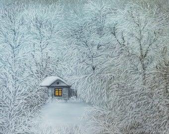 "Original Pastel Handmade Painting ""Quiet Winter Evening"""