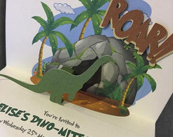 10 x Printed Invitations | Pop-Up Dino
