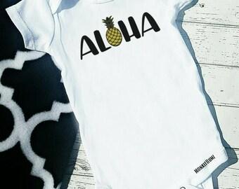 Pineapple Aloha Bodysuit or Tshirt infant kids Tween, Teen, Ladies Shirts, Hip Kids Shirts, Beach Shirts, Vacation Shirts, Water