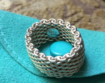Vintage Authentic Tiffany & Co. Sterling Silver Flexible Mesh Somerset Ring Size 4.5, Pinky Ring, Classic Tiffany Design Ring