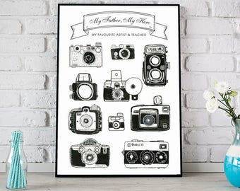 Personalised Father's Day Vintage Camera Print, Vintage Cameras Poster, Father's Day Gift, Photography Print, Gift for Him
