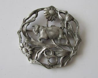 Vintage Ram Zodiac Pin Floral Goat  Aries Brooch