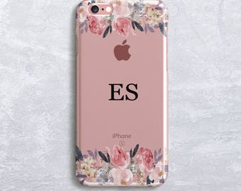 Floral Custom Initials Personalized Phone Case Monogram iPhone 7 case iPhone 6S Case Samsung S7 Case, Samsung S8 case