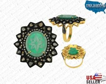 Flower Ring, Flower Cameo Ring, Diamond Ring, Gold Ring, Cameo Ring, Engagement Ring, Anniversary ring, Promise Ring, black flower ring
