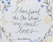 I Have Found the One Whom My Soul Loves Card / Wedding Card /Engagement / Wedding Shower / Song of Solomon / Christian Marriage