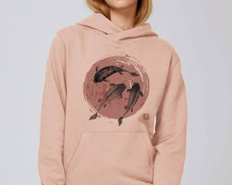 SWEAT-SHIRT Large and wide hoodie, cotton Bio old pink Printing two Carps