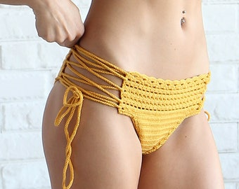 Cheeky Crochet Bikini Bottom - Lace Crochet Swimsuit Bottoms - Yellow Lace Up Crochet Bottoms - Brazilian Bikini - Cheeky Bikini Bottoms